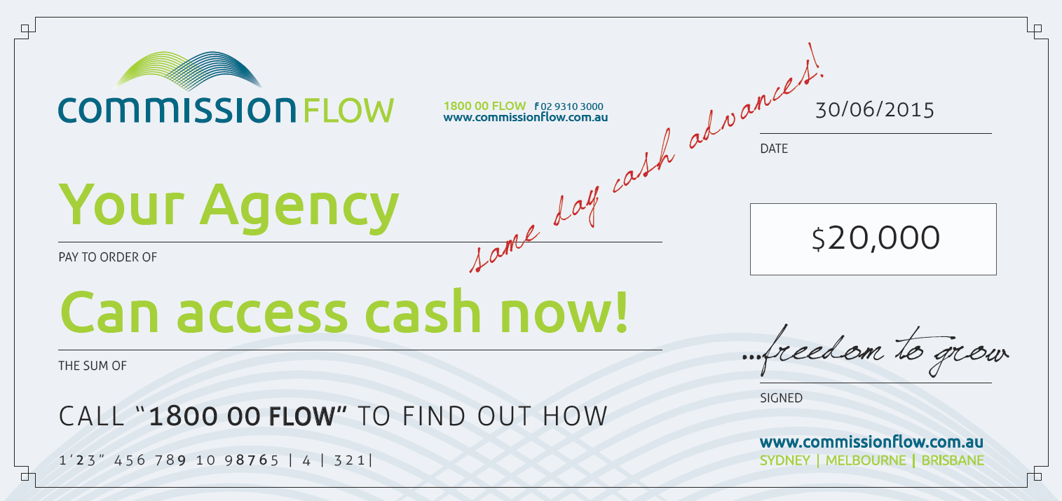 COMMISSION FLOW CHEQUE